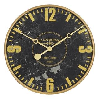 Julian Black/Gold Wood Round Wall Clock