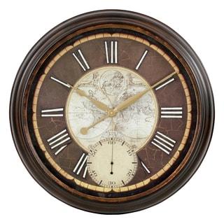 Paloma Black/Brown Metal Round Wall Clock