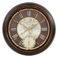Paloma Black/Brown Metal Round Wall Clock