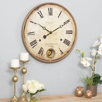 Raleigh Golden Brown Metal and Composite Wood Pendulum Wall Clock