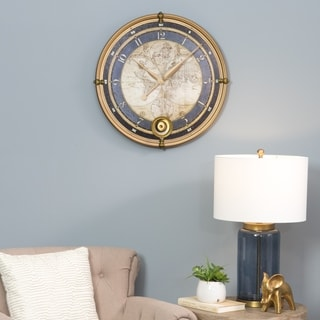 Ramona Old Map Blue and Gold Metal Wall Clock