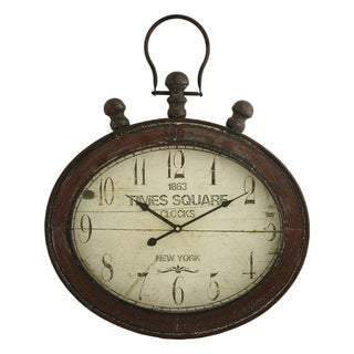Remington Distressed Red Metal Oval Wall Clock