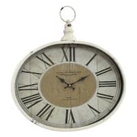 Westminster White/Black Metal Distressed Pocket Watch Wall Clock
