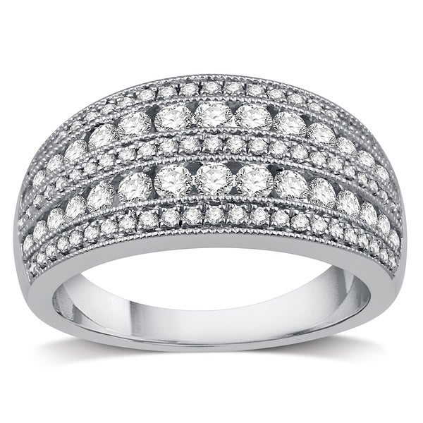 Shop 10k White Gold 1ct Tdw Diamond Women S Wide Wedding Band