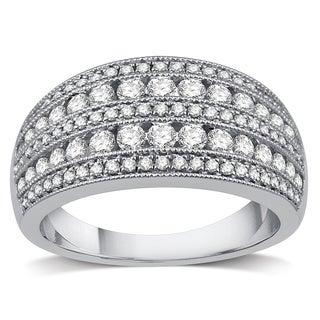 10k White Gold 1ct TDW Diamond Women's Wide Wedding Band (I/J- I2)