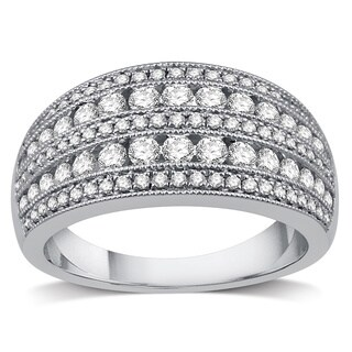 10k White Gold 1ct TDW Diamond Women's Wide Wedding Band - White I-J
