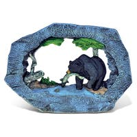 Puzzled The Wild Green Stone Black Bear Decor Sculpture