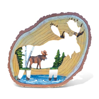 Puzzled The Wild Collection Wood Slice Moose with Moose Cutout Decor Sculpture
