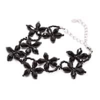 Handmade Floral Teardrop Crystal and Bead Bracelet (Thailand)