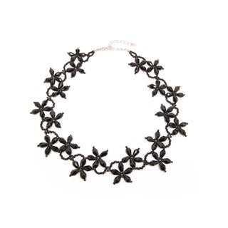 Handmade Floral Black Teardrop Crystal and Bead Collar Necklace (Thailand)