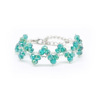 Handmade Woven Turquoise Crystal and Bead Bracelet (Thailand)