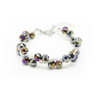 Handmade Woven Metallic Crystal and Bead Bracelet (Thailand)