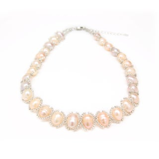 Elegant Woven Cultured Freshwater Pearl and Bead Necklace (Thailand)