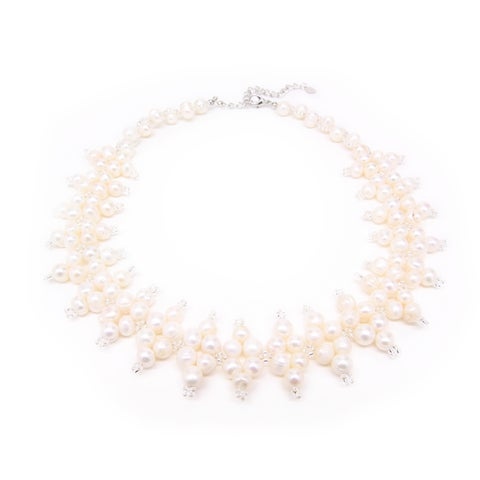 Handmade Elegant Freshwater Pearl and Bead Collar Necklace (Thailand)