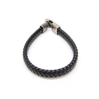 Handmade Black Braided Leather Bracelet with Silvertone Link Clasp (Thailand)
