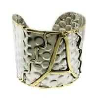 Handmade Wide Textured Stainless Steel Brass Script Initial Cuff Bracelet (India)