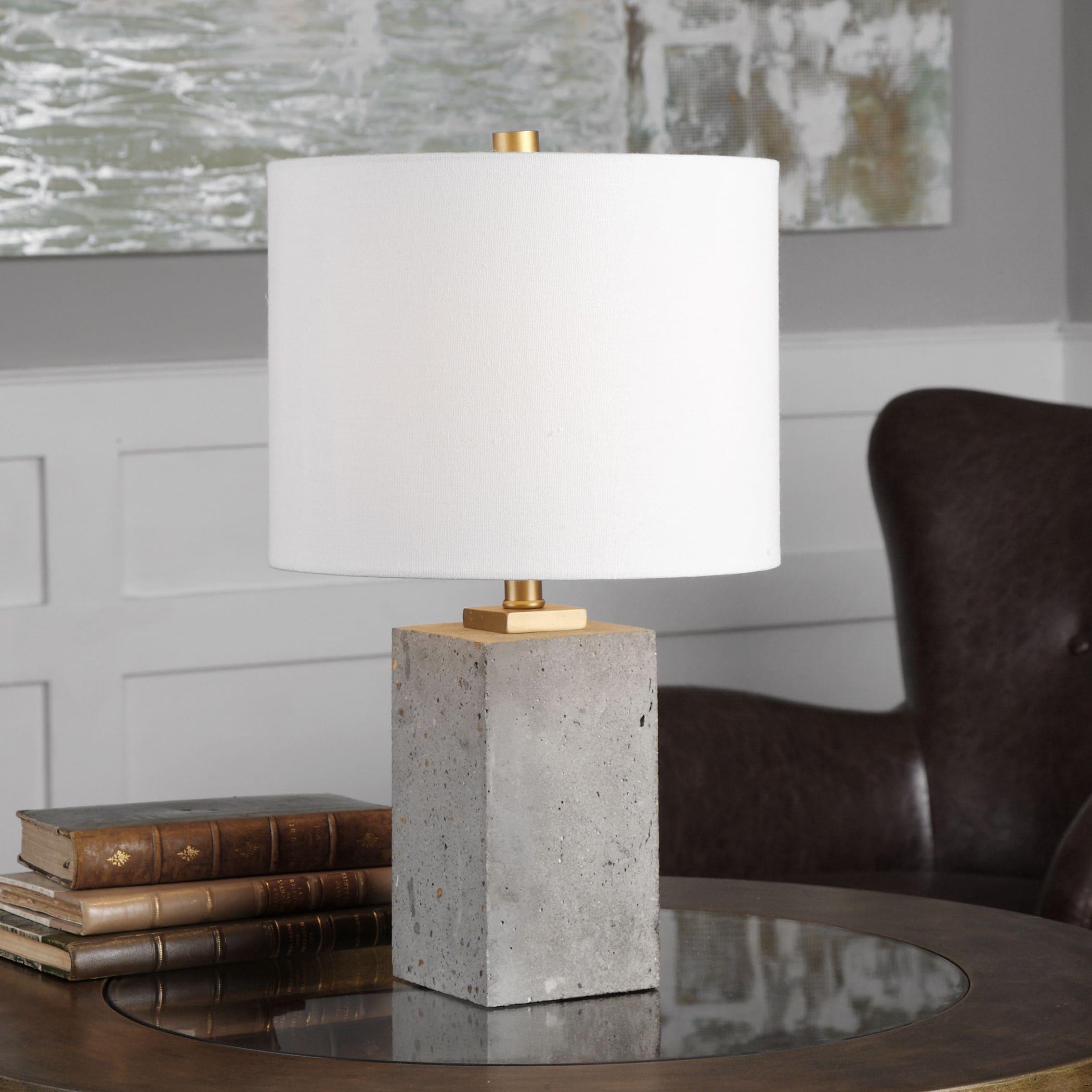 UTTERMOST Drexel Concrete Block Lamp (Table Lamp), Gold