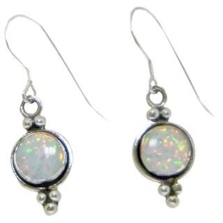 Indian Handcrafted Silvery Opal Earrings