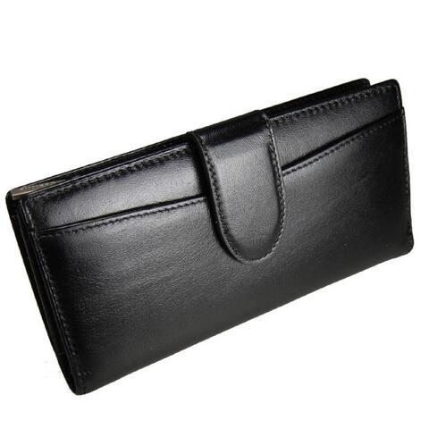 Castello Black Leather Zip-around Wallet