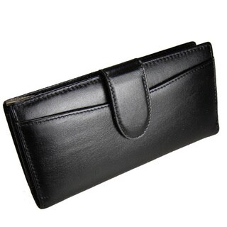 Castello Black Leather Zip-around Wallet