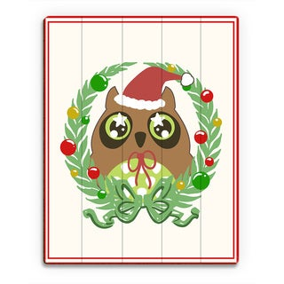 Ornament Wreath Owl' with Border Printed Wood Wall Art
