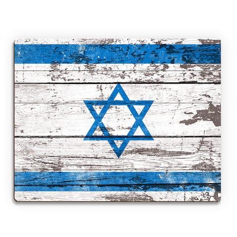 Flag of Israel' Planked Printed Wood Wall Art