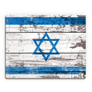Flag of Israel' Planked Printed Wood Wall Art