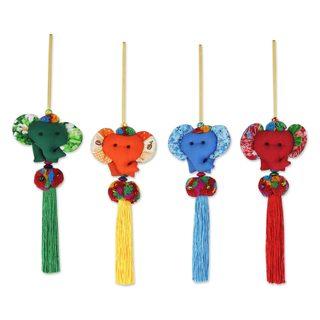 Set of 4 Cotton Ornaments, 'Happy Thai Elephants' (Thailand)