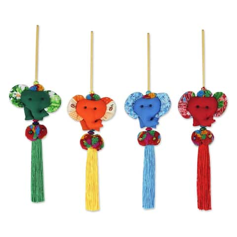 Handmade Set of 4 Cotton Ornaments, 'Happy Thai Elephants' (Thailand)