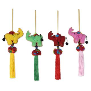 Handmade Set of 4 Cotton Ornaments, 'Happy Siam Elephants' (Thailand)
