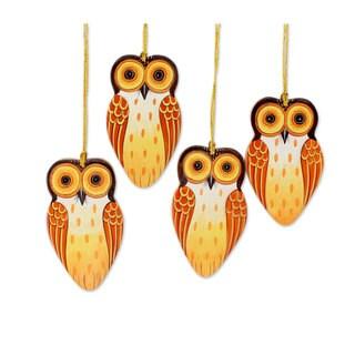Set of 4 Wood Ornaments, 'Owl Holiday' (India)