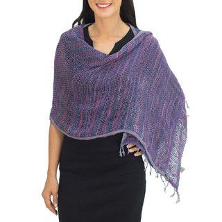 Handmade Cotton Shawl, 'Breeze of Blue Purple' (Thailand)
