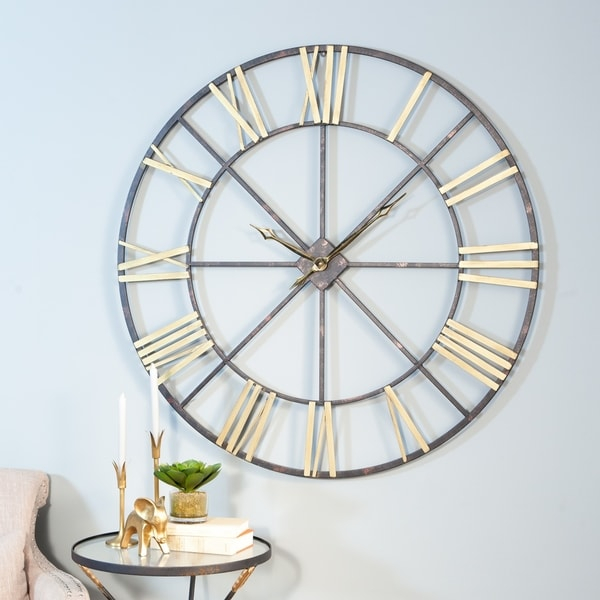 shop baldwin oversized black gold tone metal 48 inch wall clock free shipping today. Black Bedroom Furniture Sets. Home Design Ideas