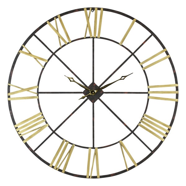 baldwin oversized black gold tone metal 48 inch wall clock free shipping today overstock. Black Bedroom Furniture Sets. Home Design Ideas