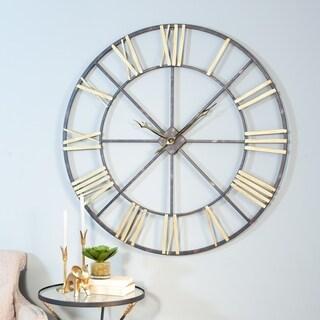 Baldwin Oversized Black/Gold-tone Metal 48-inch Wall Clock