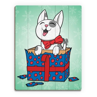 Puppy Present Blue in Green Snow ' Printed Wood Wall Art