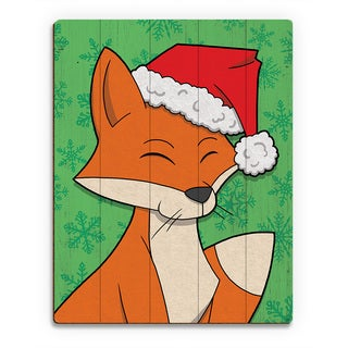 Orange Christmas Fox' in Green Printed Wood Wall Art