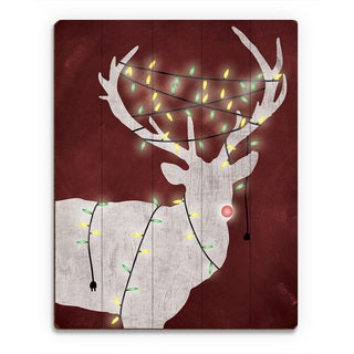 Christmas Light Rudolph' Red Printed Wood Wall Art