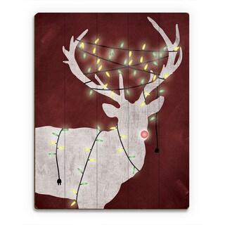 Christmas Light Rudolph' Red Printed Wood Wall Art