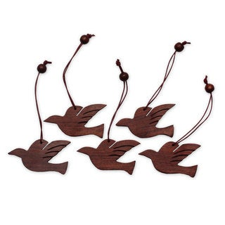 Set of 5 Wood Ornaments, 'Songbird Holiday' (India)