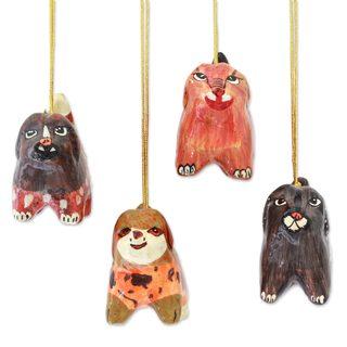 Handmade Set of 4 Papier Mache Ornaments, 'Joyful Puppies' (India)
