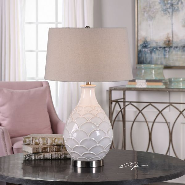 Shop Uttermost Camellia Glossed White Table Lamp Free Shipping