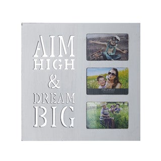 Melannco 'Aim High and Dream Big' White/Grey Wood 3-opening Box Collage