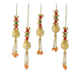 Set of 5 Beaded Brass Ornaments, 'Jingle Bells' (India)