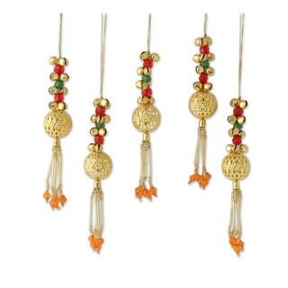 Handmade Set of 5 Beaded Brass Ornaments, 'Jingle Bells' (India)