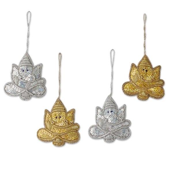 Handmade Set of 4 Beaded Ornaments, 'Happy Ganesha' (India)