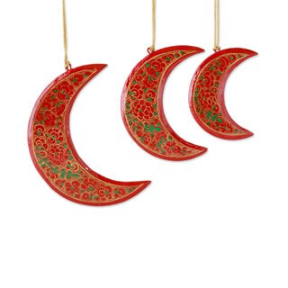 Set of 3 Wood Christmas Ornaments, 'Dreamy Moons' (India)