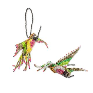 Pair of 2 Glass Beaded Ornaments, 'Hummingbirds' (Guatemala)