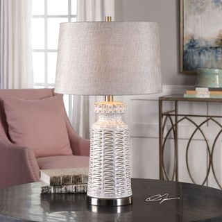 Uttermost Kansa Distressed White Table Lamp
