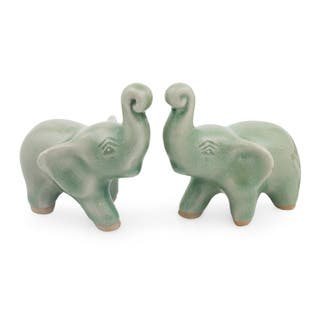 Pair of 2 Celadon Ceramic Figurines, 'Lucky Green Elephants' (Thailand)|https://ak1.ostkcdn.com/images/products/13571760/P20247971.jpg?impolicy=medium